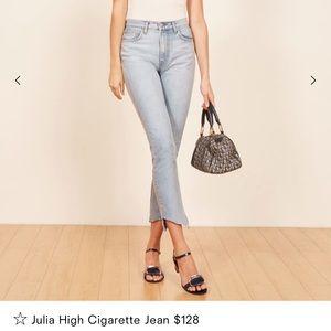 NWOT Reformation Julia High Cigarette Jeans - Sz30